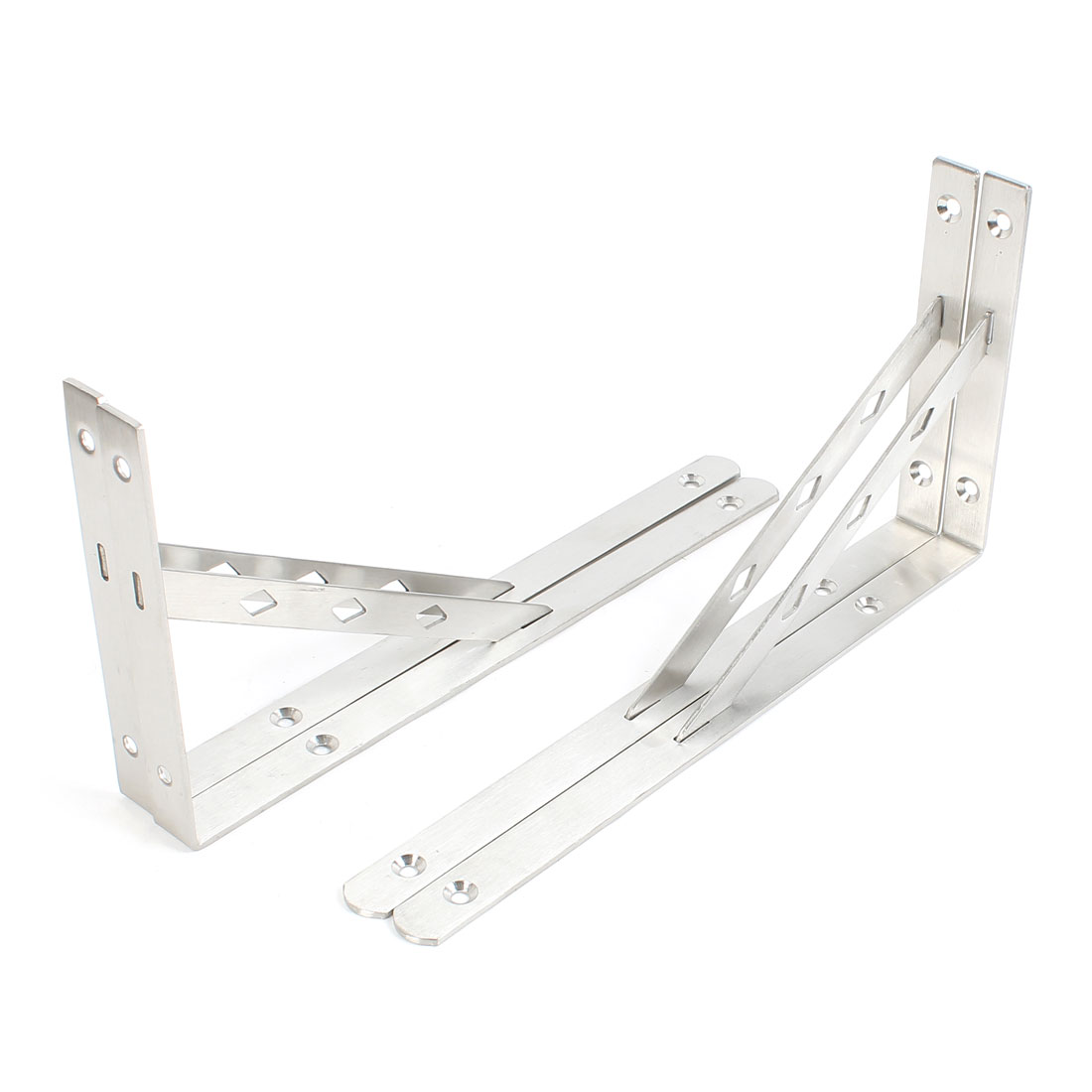 4 Pcs 30cx15.5cm Silver Tone Right Angle Book Goods Shelf Bracket Support