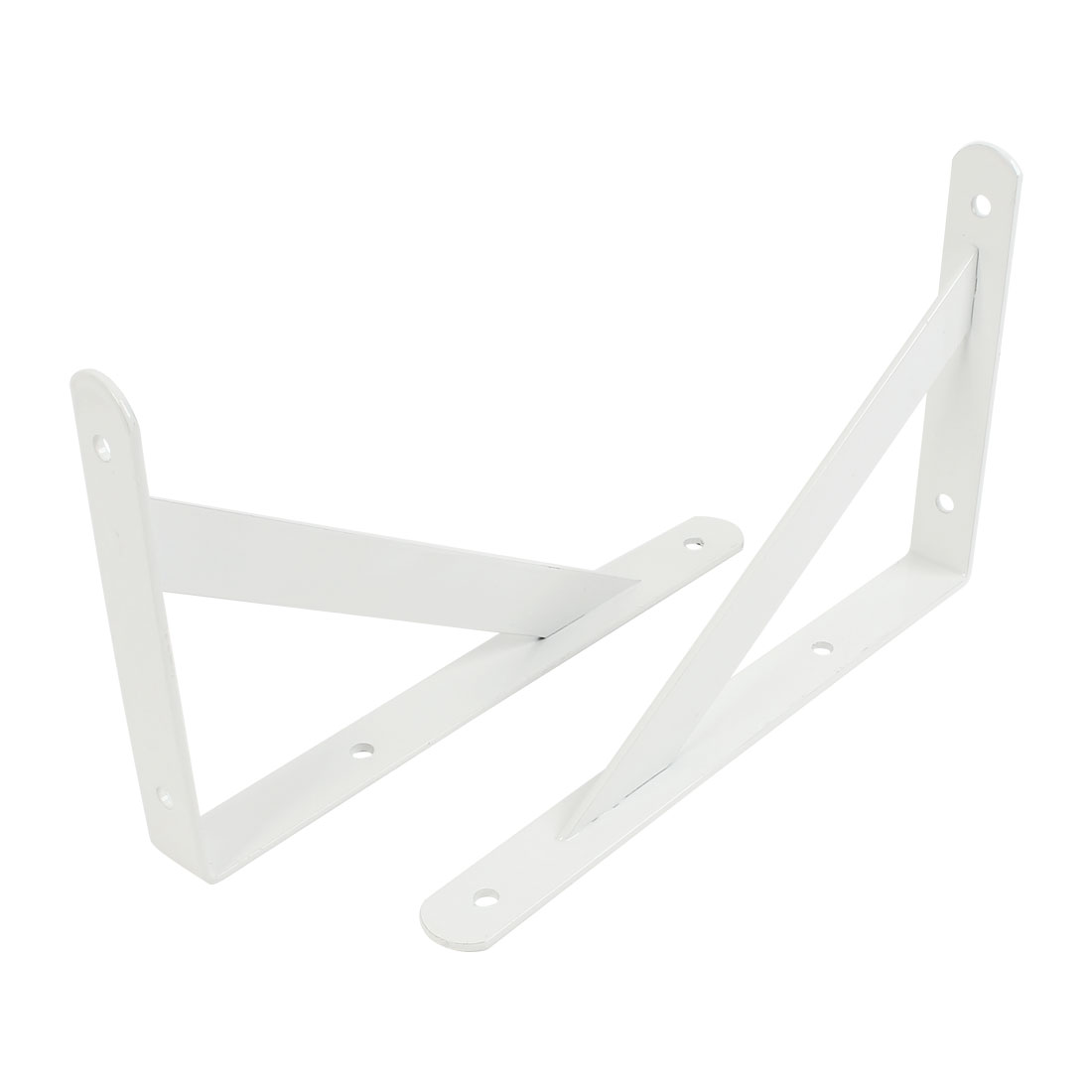 "2 Pcs White 90 Degree Shop Store Wall Mounted Shelf Brackets 10"" x 6"""