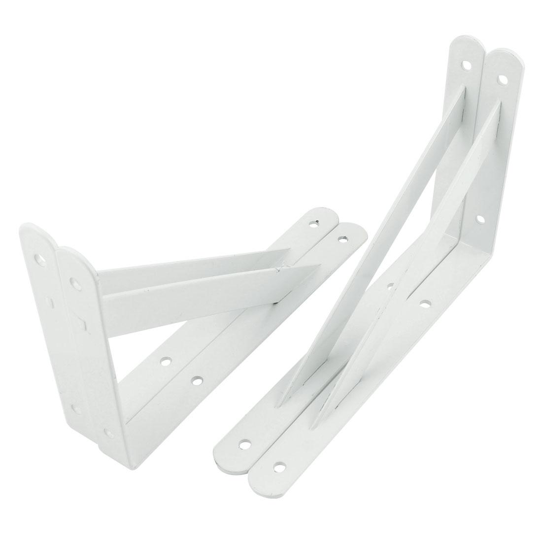 "10"" x 6"" White L Shaped Book Goods Holder Shelf Bracket Support 4 Pcs"