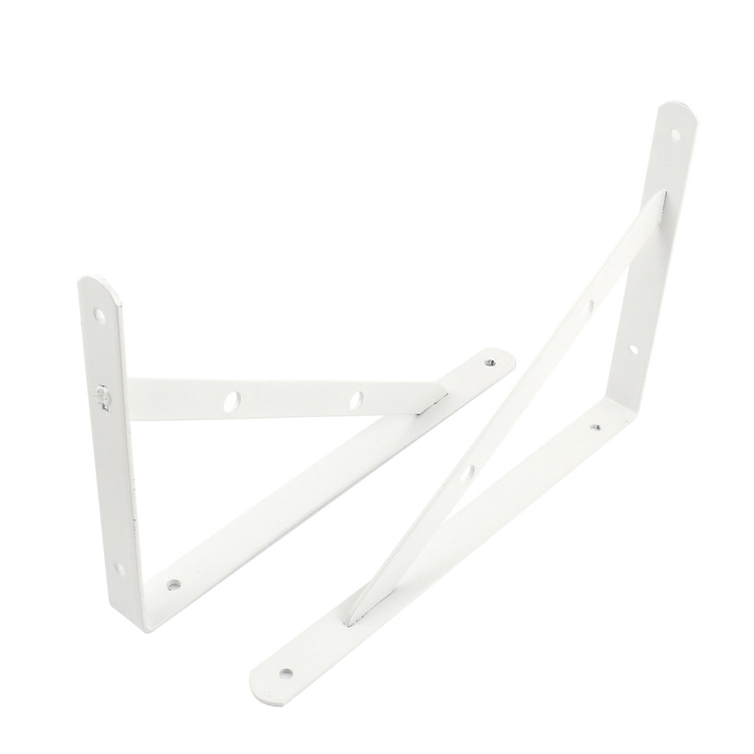 "12"" x 7.5"" White L Shaped Book Goods Holder Shelf Bracket Support 2 Pcs"