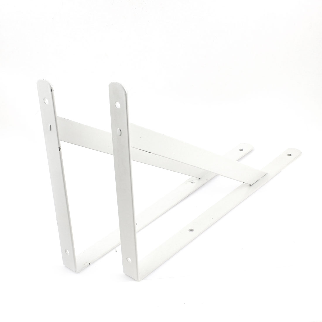 "15"" x 10"" White L Shaped Book Goods Holder Shelf Bracket Support 2 Pcs"