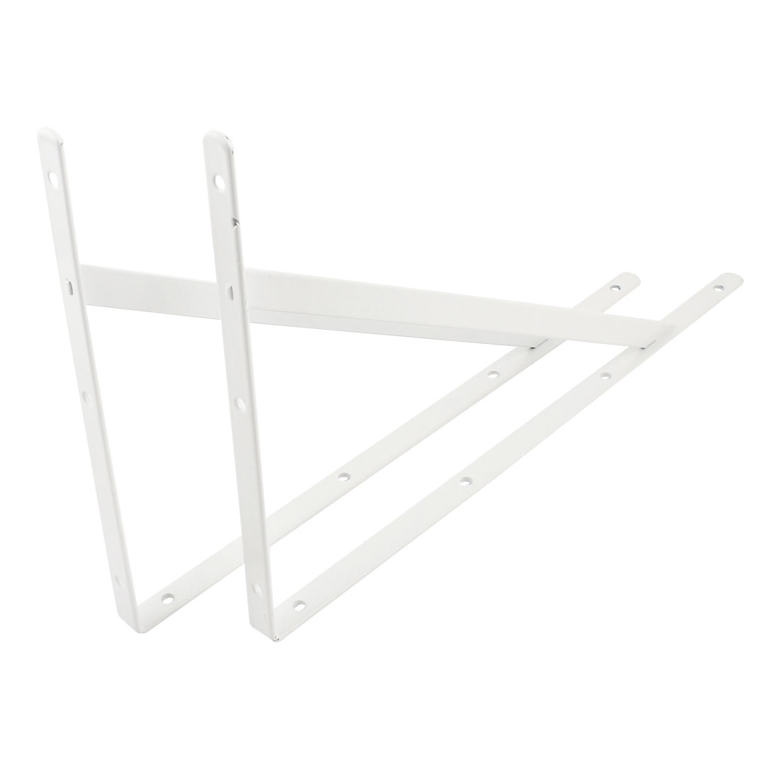 400mmx250mm White L Shaped Book Goods Holder Shelf Bracket Support 2 Pcs