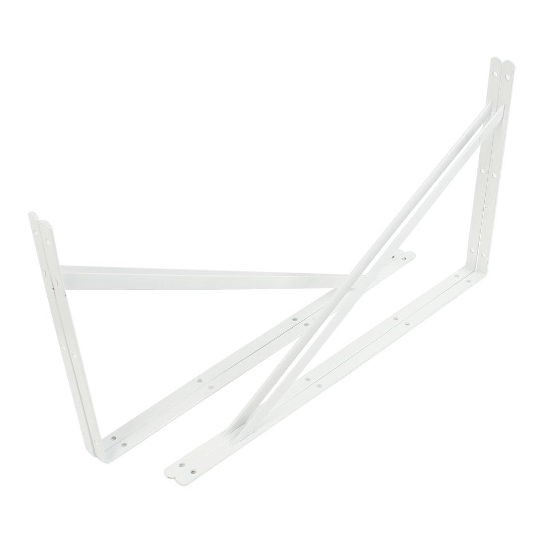 50cmx30cm White L Shaped Book Goods Holder Shelf Bracket Support 2 Pcs