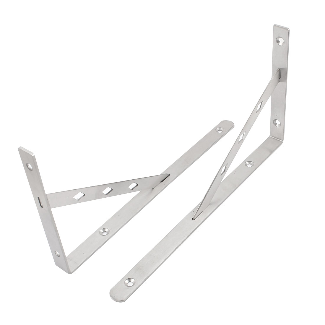 "2 Pcs Silver Tone Right Angle Shop Store Wall Mounted Shelf Brackets 12"" x 6"""