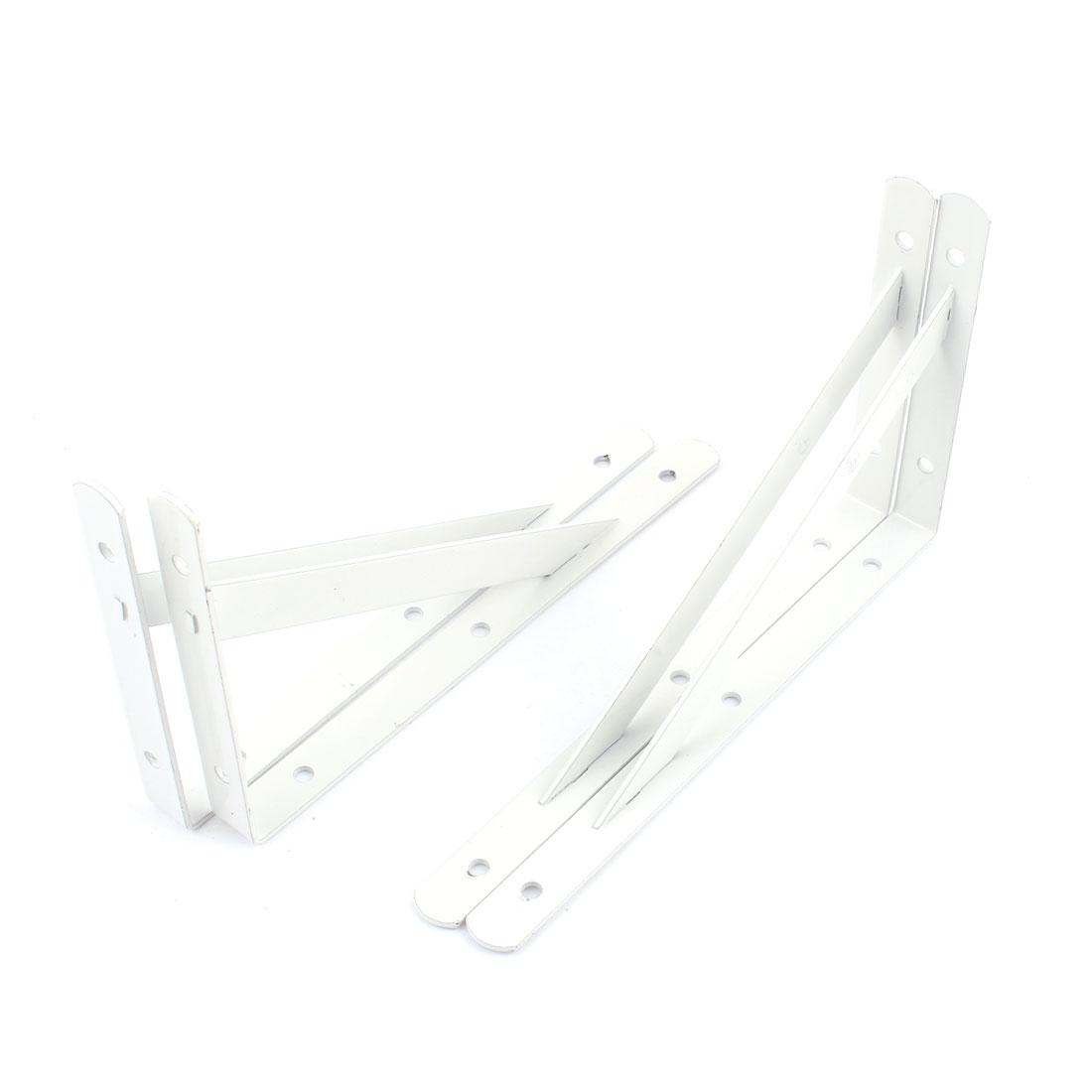 20cm x 12cm White L Shaped Book Goods Holder Shelf Bracket Support 4 Pcs