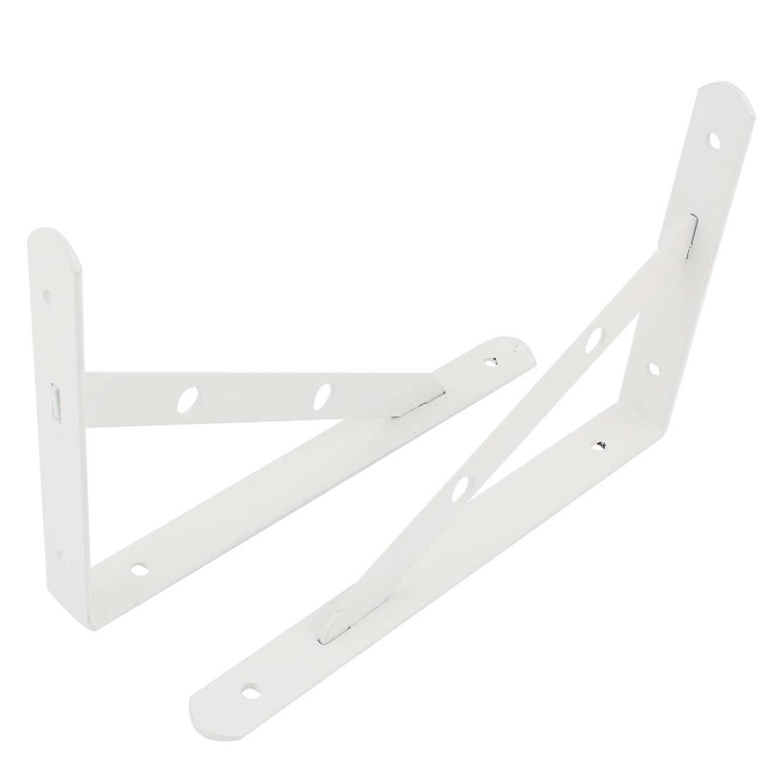 "2 Pcs White Triangle Shop Store Wall Mounted Shelf Brackets 10"" x 6"""