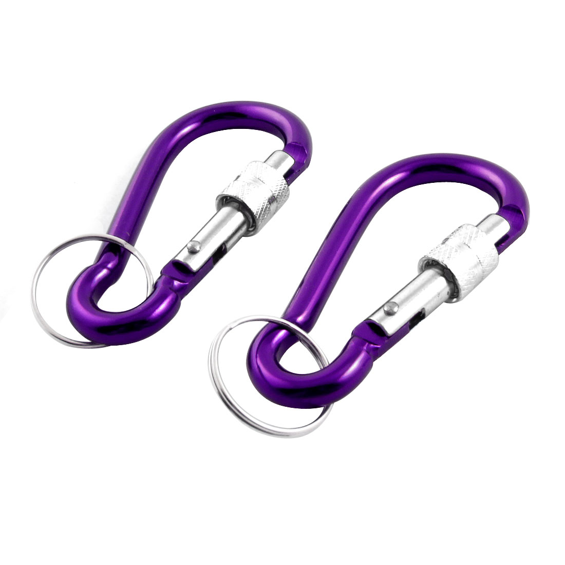 2 Pieces Purple Aluminum Alloy Spring Loaded Gate Carabiner Hook w Keyring