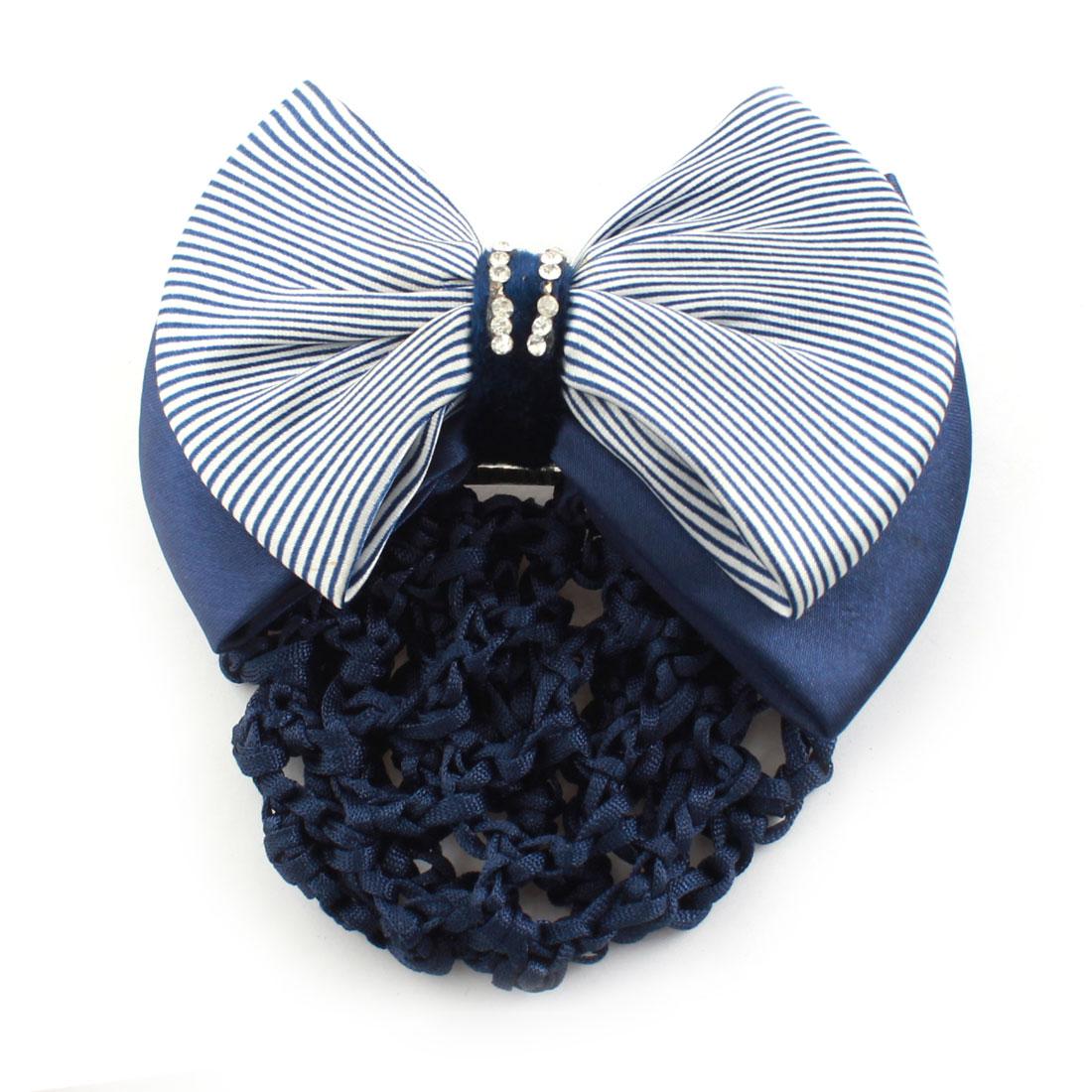 Stripe Pattern Hairdressing Bowtie Decor Elastic Band Snood Net Hairclip Hairnet Dark Blue