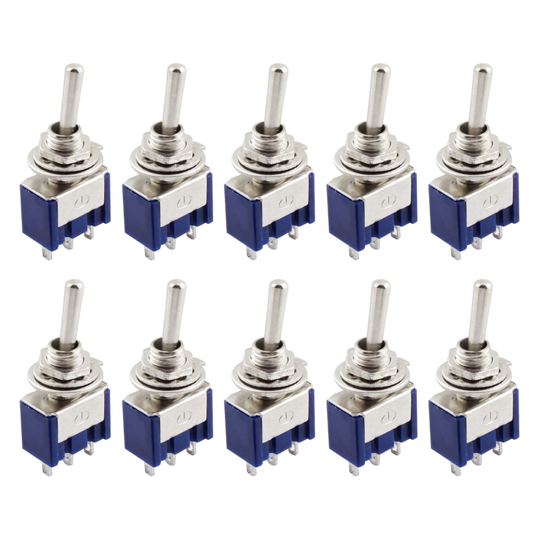 AC125V 6A SPDT 3 Terminals On-Off-On Rocker Toggle Switch 10 Pieces