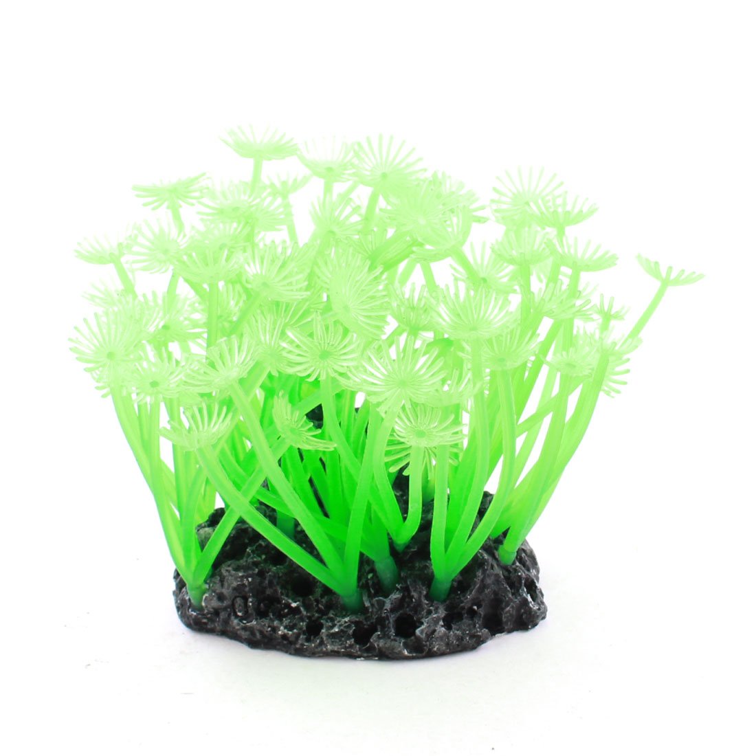 Fish Tank Black Rockery Base Green Silicone Artificial Water Coral Plant 10cm High