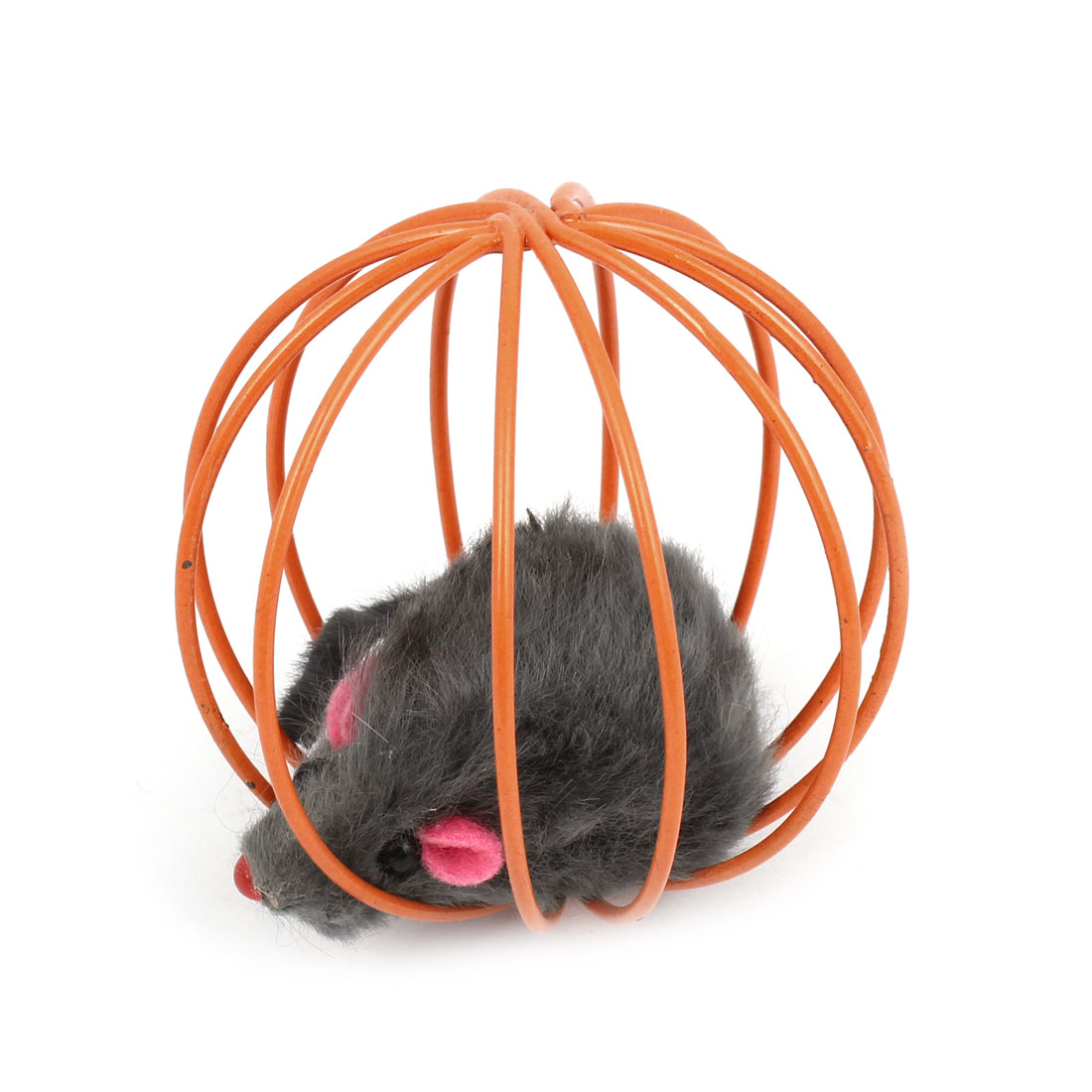 Dark Gray False Mouse Rat In Orange Metal Ball Shape Cage Pet Toy for Dog Cat Playing