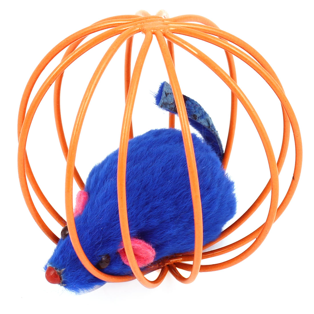 Dark Blue False Mouse Rat In Orange Metal Ball Shape Cage Pet Toy for Dog Cat Playing