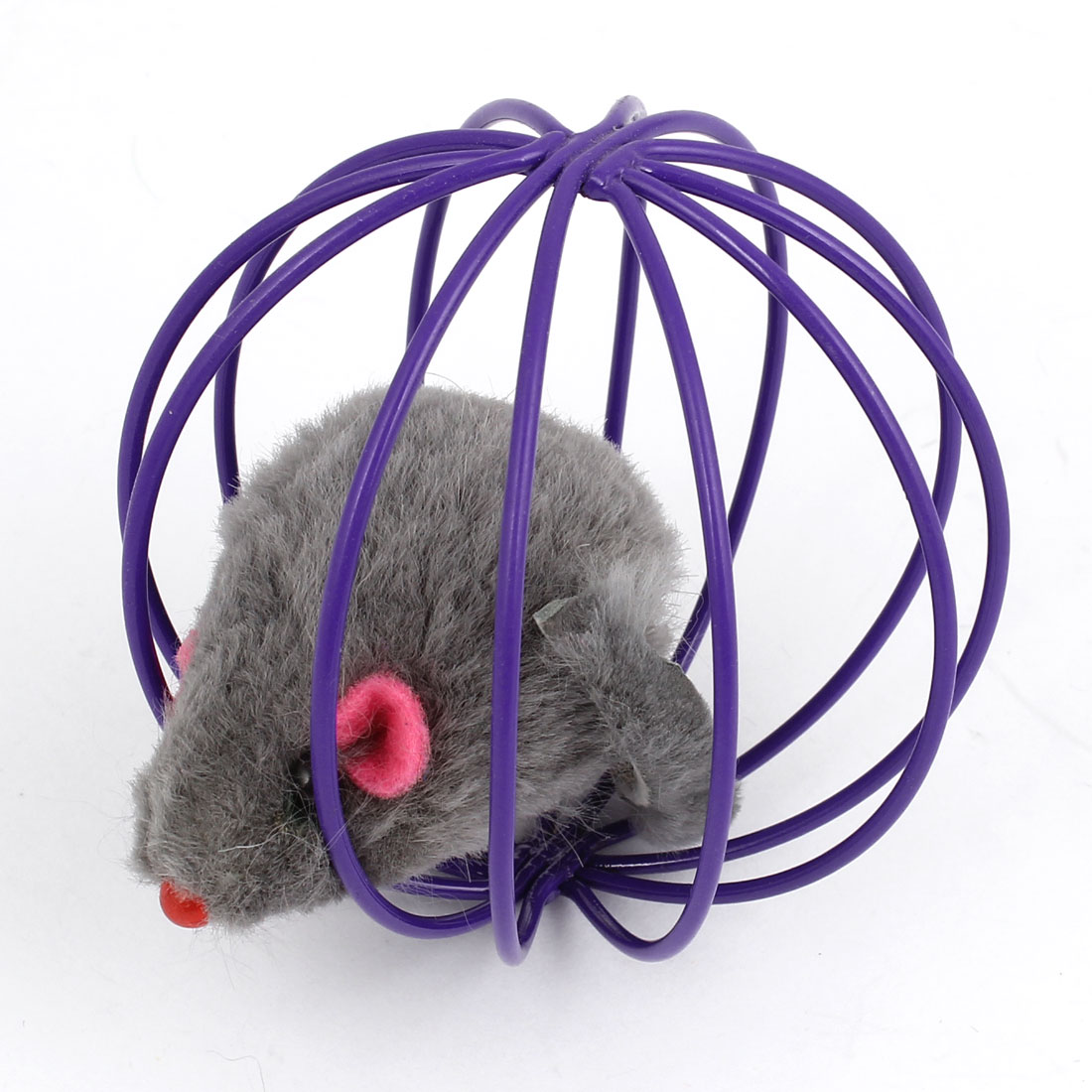 Gray False Mouse Rat In Purple Metal Ball Shape Cage Pet Toy for Dog Cat Playing