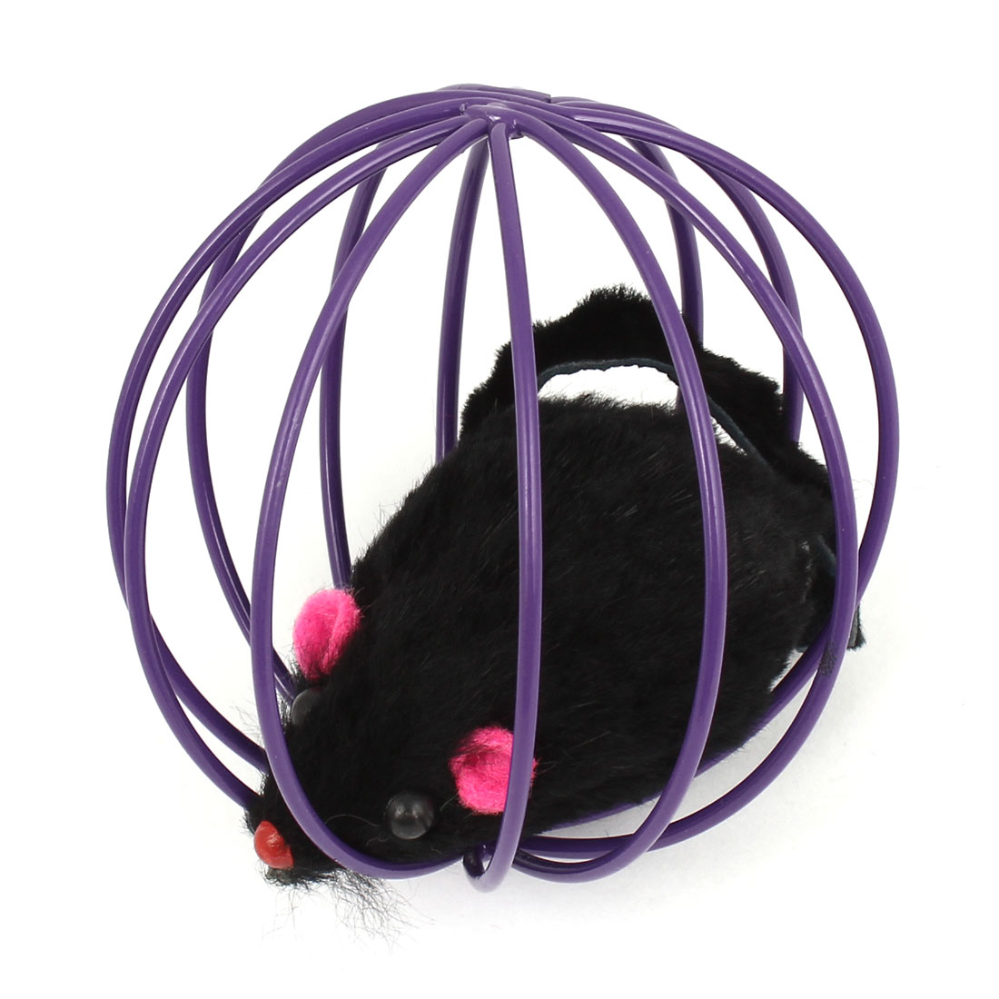 Black False Mouse Rat In Purple Metal Ball Shape Cage Pet Toy for Dog Cat Playing
