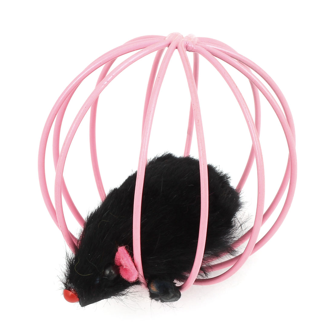 Black False Mouse Rat In Pink Metal Ball Shape Cage Pet Toy for Dog Cat Playing