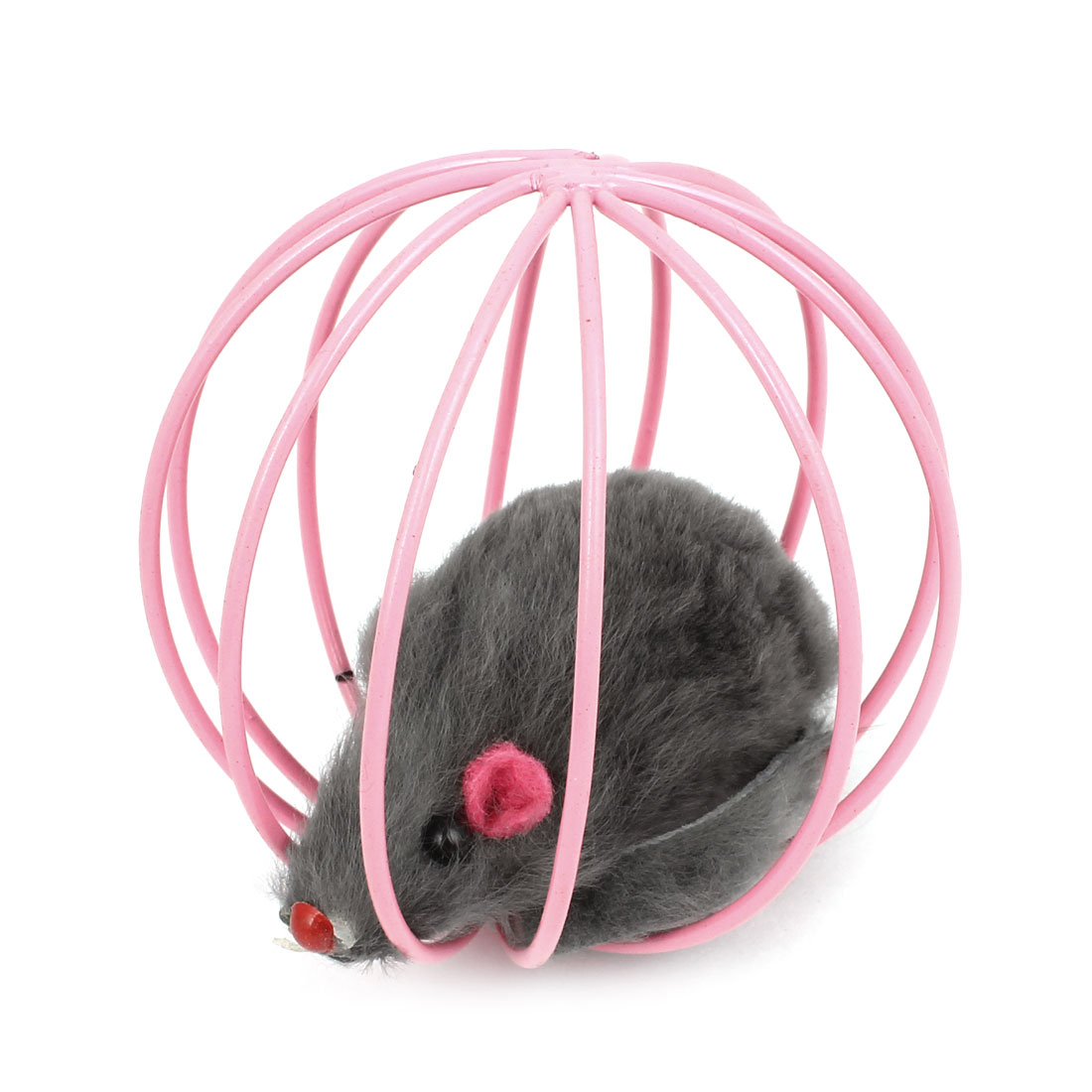 Gray False Mouse Rat In Pink Metal Ball Shape Cage Pet Toy for Dog Cat Playing