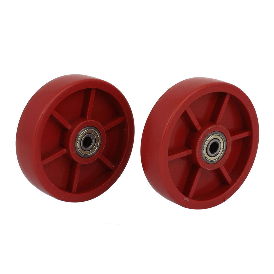 "2pcs Red Hard Plastic Round Bearing Wheel Caster 4.5"" Dia for Traveling Carts"