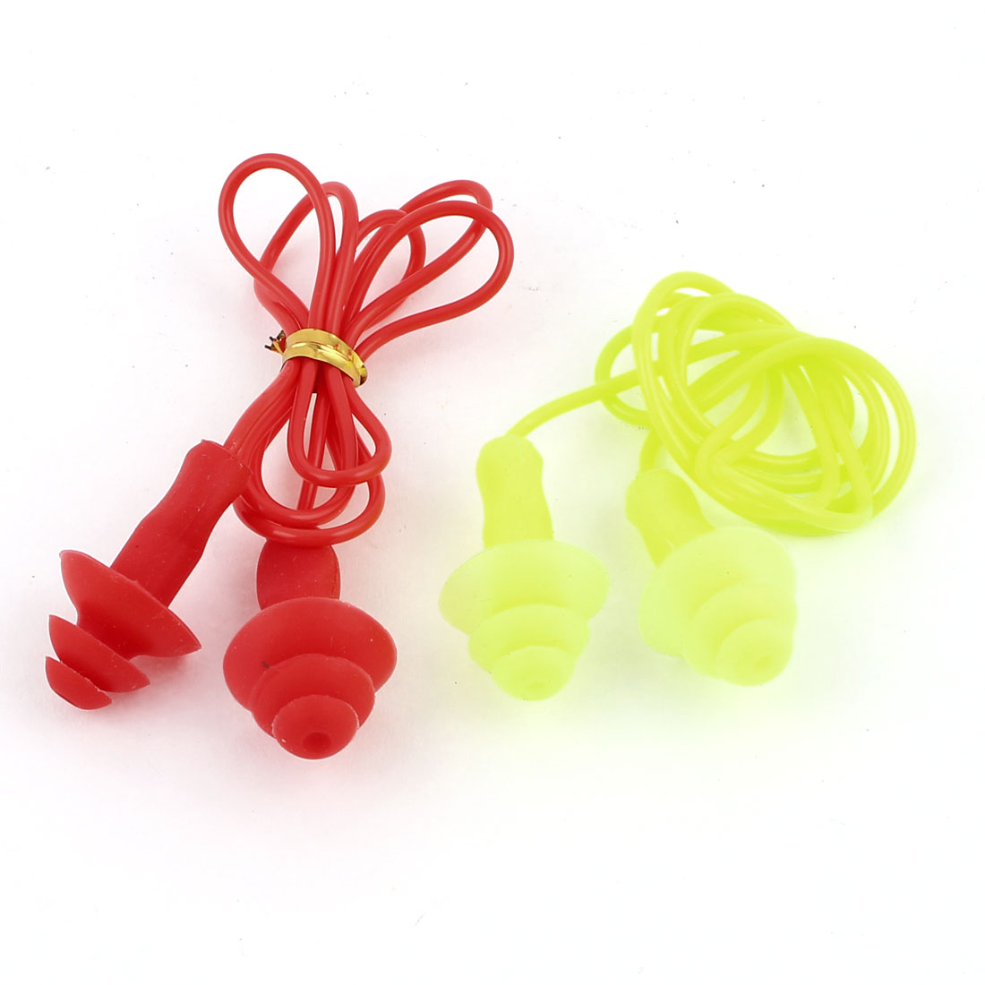 2 Pcs 52cm Long Swimming Sleeping Silicone Earplugs String Yellow Red