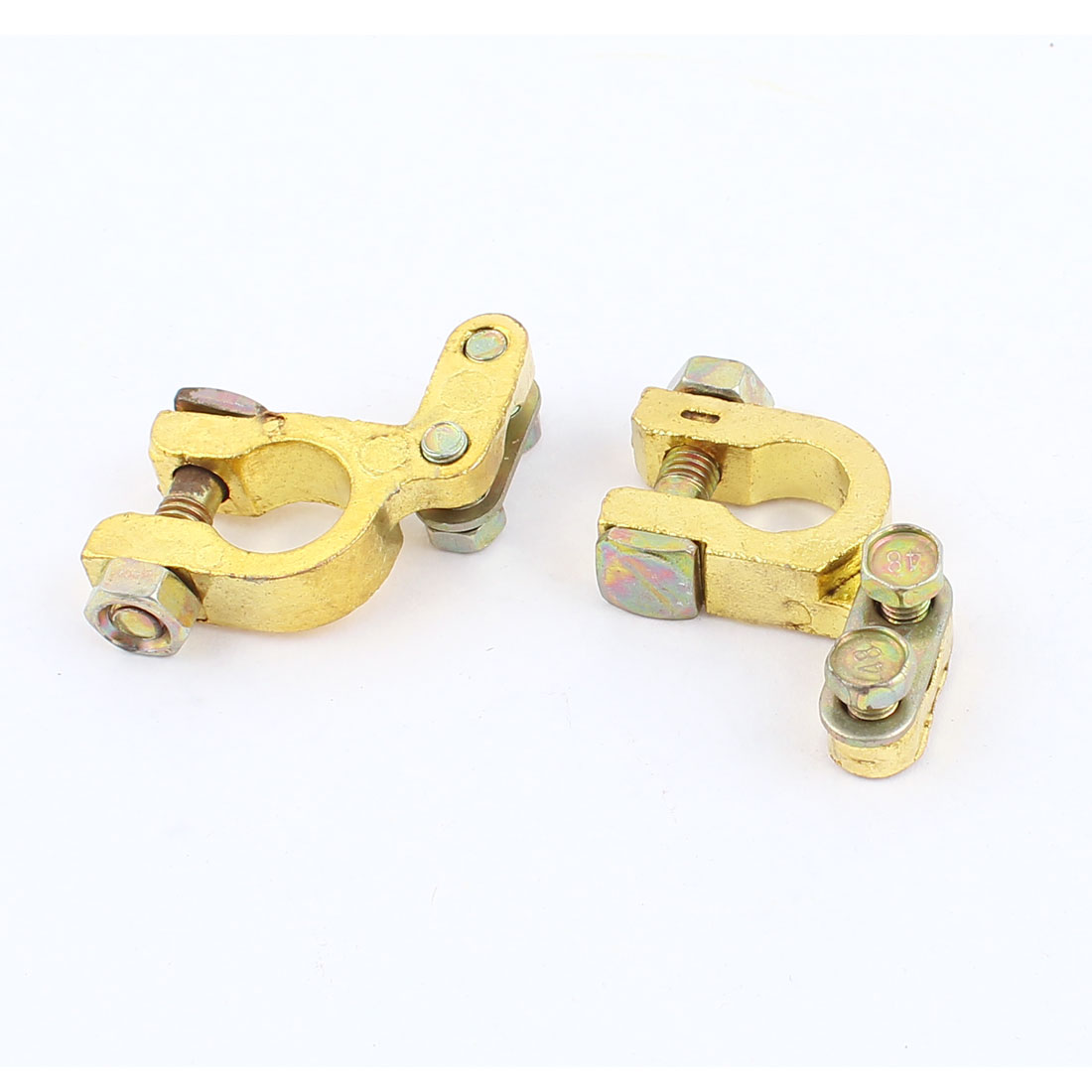 2PCS Car Vehicle 6V 12V Angle Type Battery Terminals Positive Negative Clamps