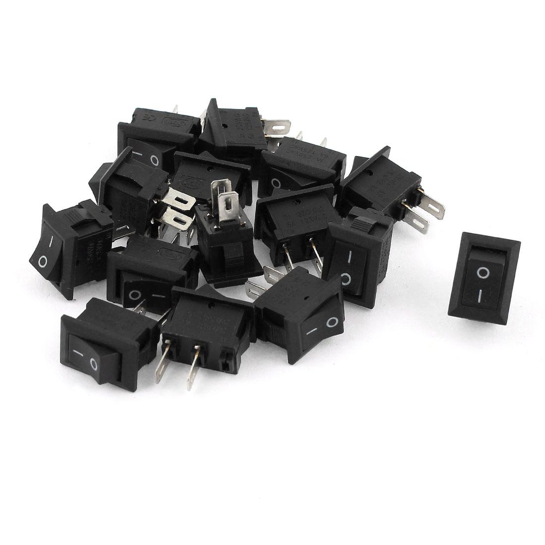 15pcs AC 6A 125V 3A 250V 2 Position 2 Pin Panel Mounting SPST Rocker Switch