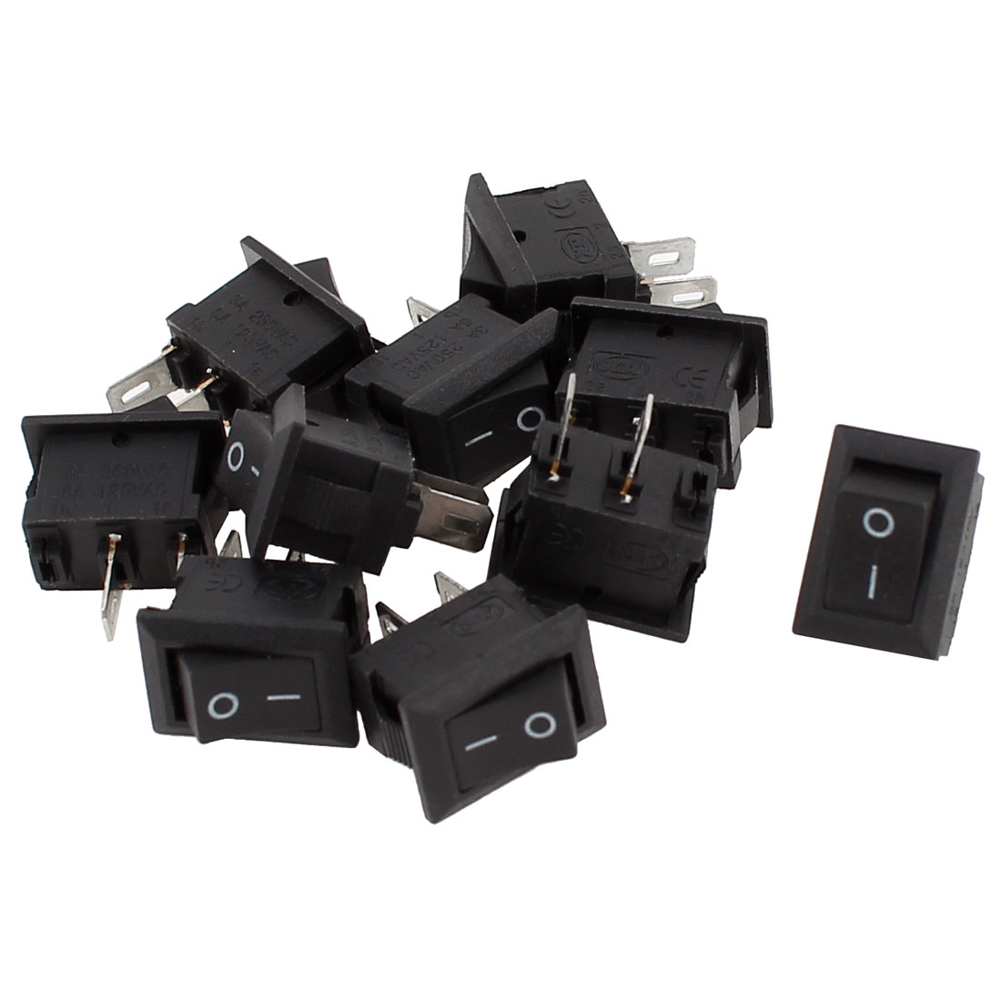 10 Pcs AC 250V 3A AC 125V 6A 2 Pin ON/OFF SPST Snap in Boat Rocker Switch
