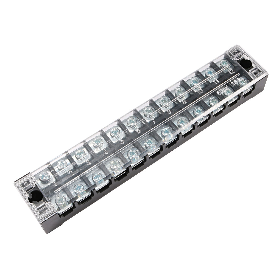 600V 25A 24 Positions Dual Rows Covered Barrier Screw Terminal Block