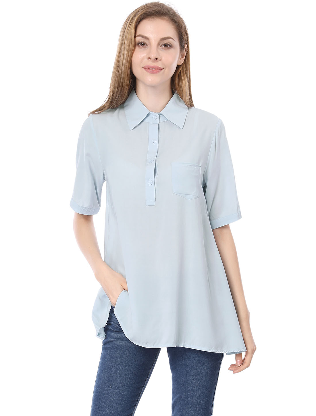 Women Leisure Button Closure Irregular Hem Loose Tunic Shirt Light Blue XL