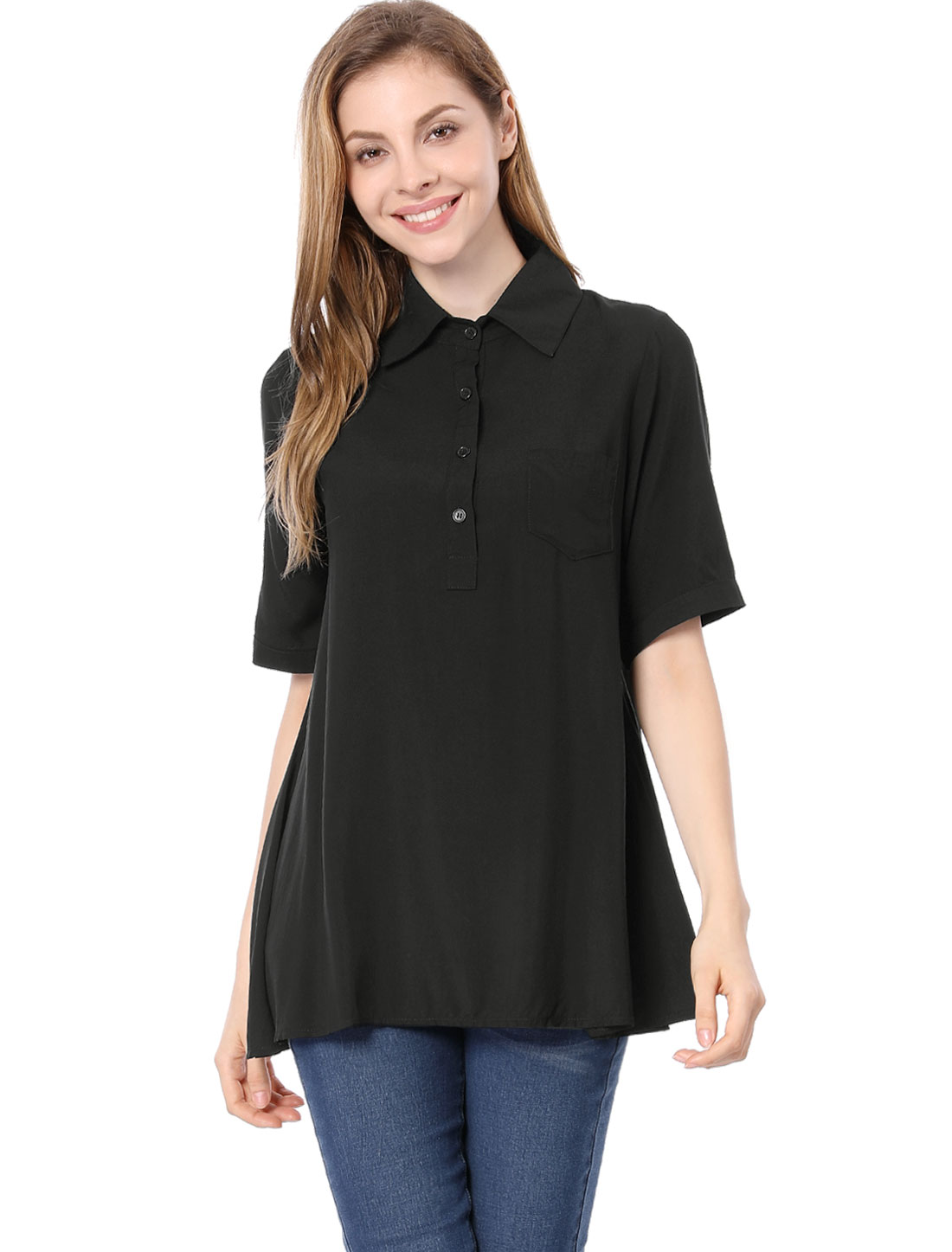 Woman Fashion Uneven Hem Design 1/2 Placket Loose Shirt Black S