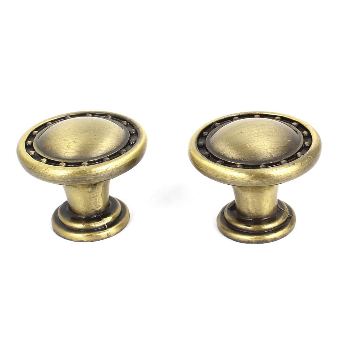 Pair Bronze Tone Round Cabinet Drawer Door Pull Handle 27mmx23mm