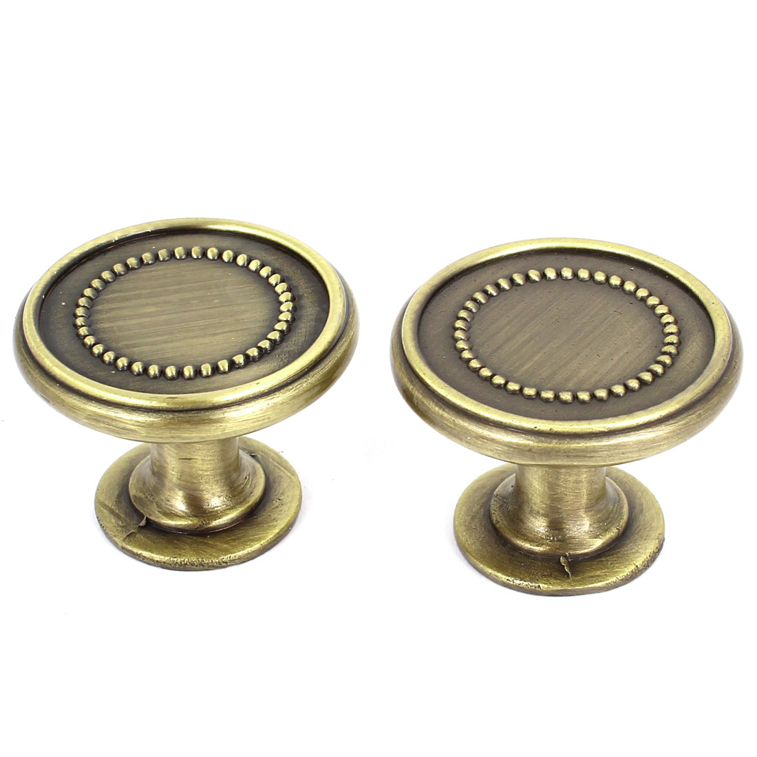 Bronze Tone Metal 30mm Round Knob Pull 2 Pcs for Cupboard Drawer Door