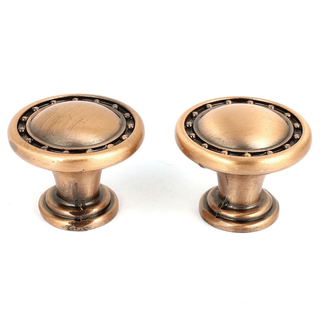 "Copper Tone Metal 1"" Round Knob Pull 2 Pcs for Cupboard Cabinet Door"