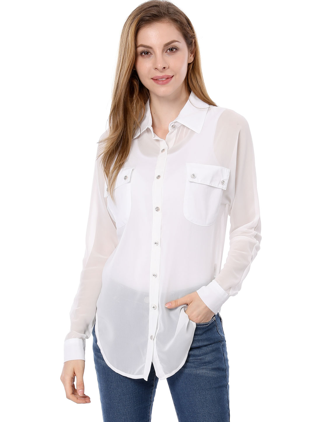 Women Pockets Front Long Dolman Sleeves Button-Down Chiffon Shirt White M