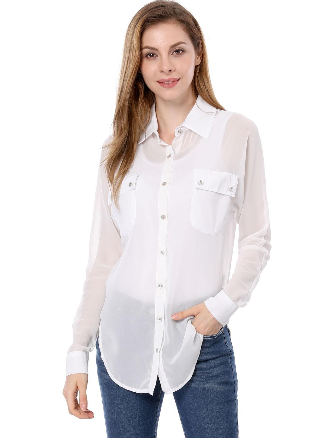 Women Casual Bust Pockets Long Dolman Sleeves Tunic Chiffon Top Shirt White XL