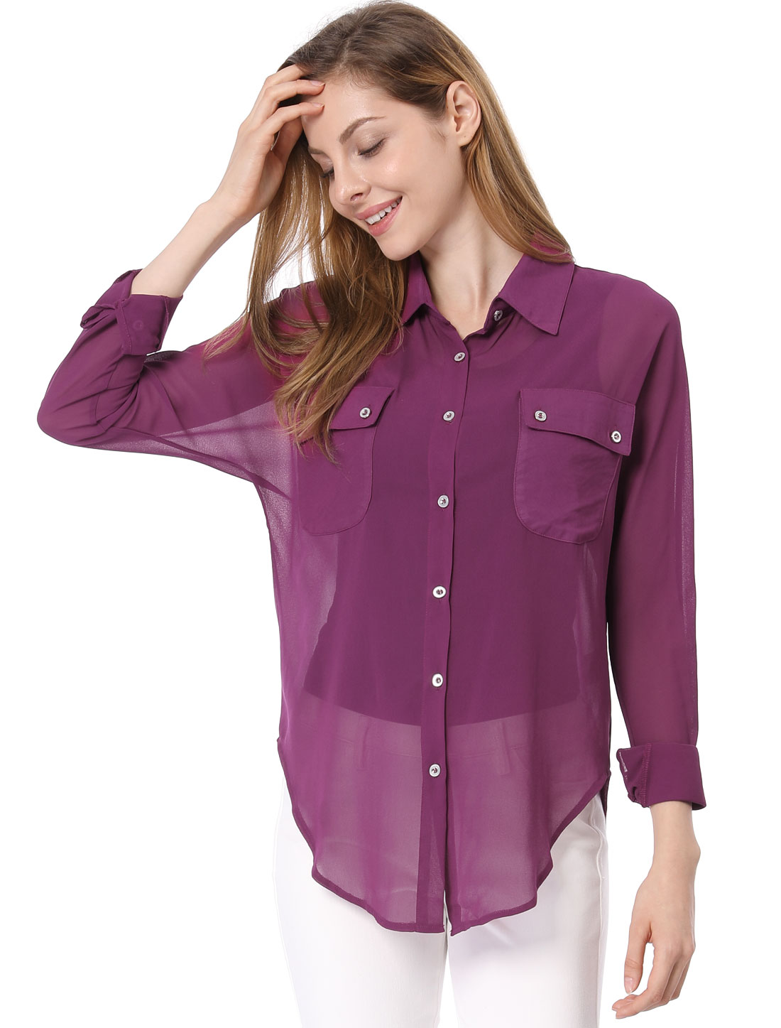 Women Two Flap Pockets Round Hem Split Side Long Chiffon Shirt Violet XL