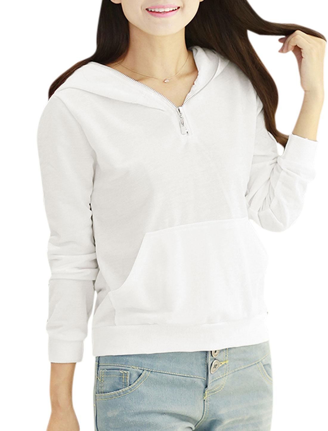 Women Hooded Half Zip Closure Long Sleeves Pullover Casual Sweatshirt White XS