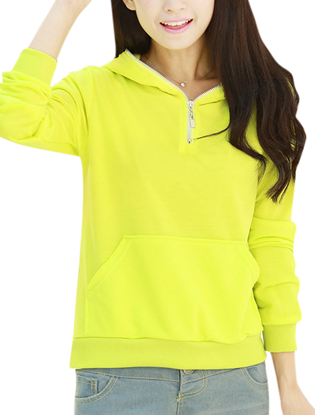 Women Lime Hooded Long Sleeves Kangaroo Pockets Slipover Casual Sweatshirt XS