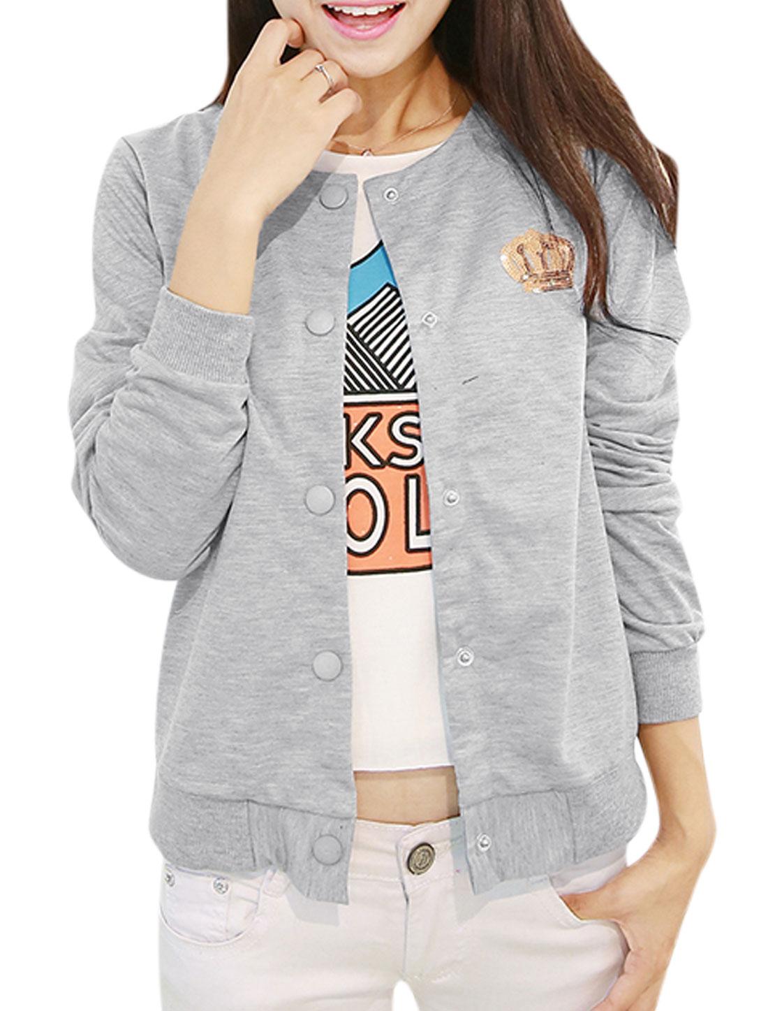 Lady Round Neck Crown Applique Back Stylish Jacket Light Gray XS