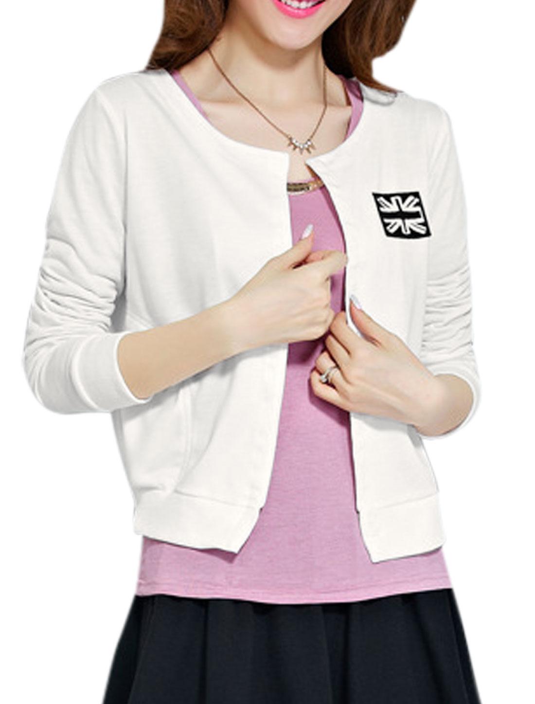 Lady Round Neck Hidden Button Closure British Flag Design Casual Jacket White XS