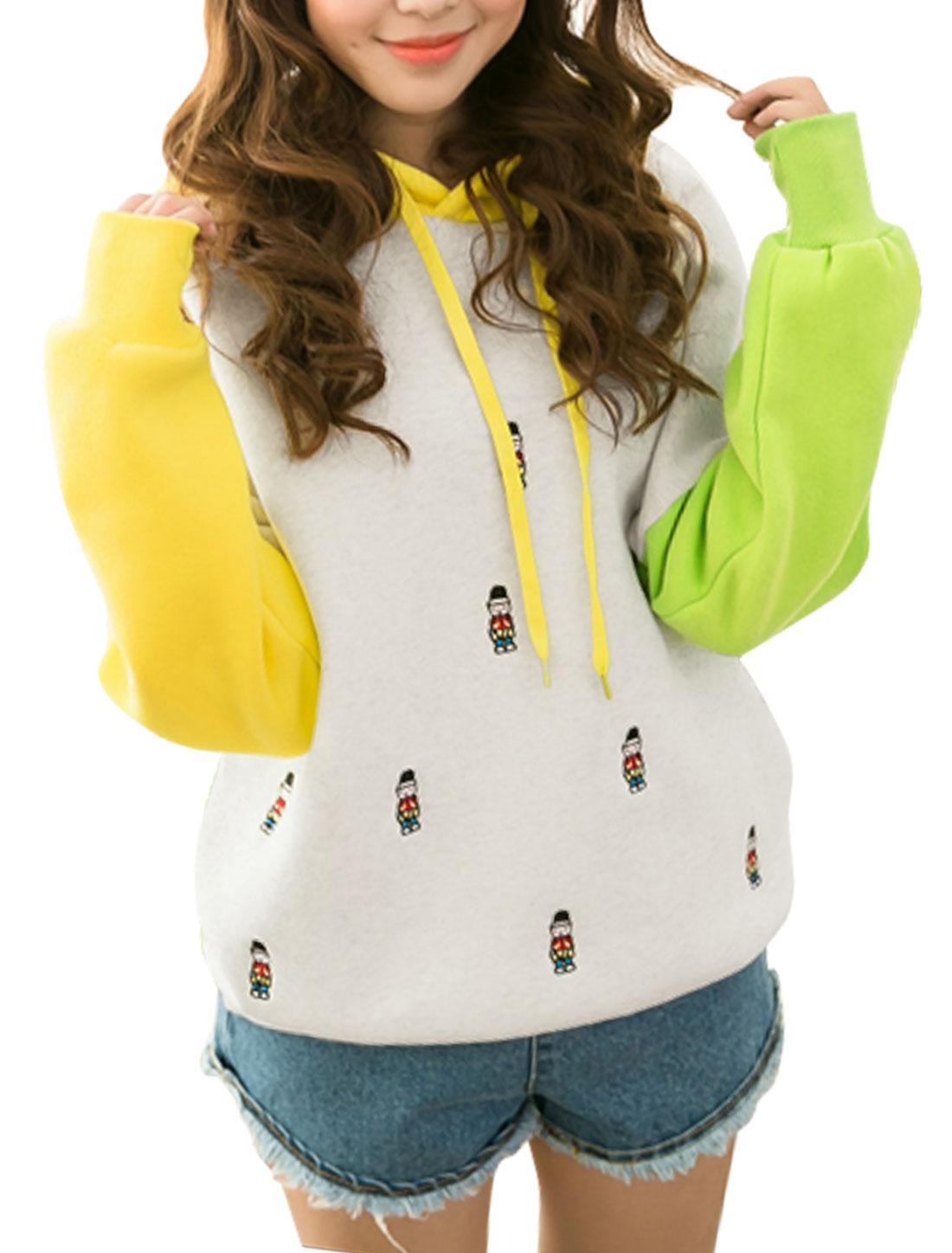 Women Hooded Batwing Sleeves Color Blocking Sweatshirt Yellow Green Yellow XS