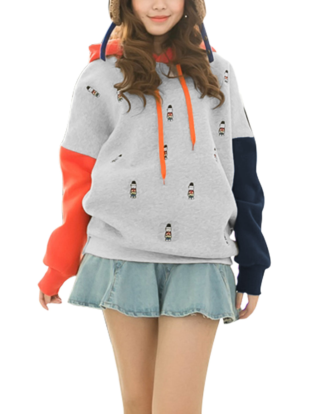 Women Hooded Contrast Color Bats Sleeves Leisure Sweatshirt Navy Blue Orange XS