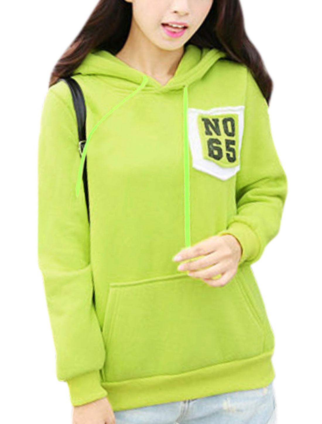 Women Hooded Long Sleeves Kangaroo Pockets Trendy Sweatshirt Green Yellow XS