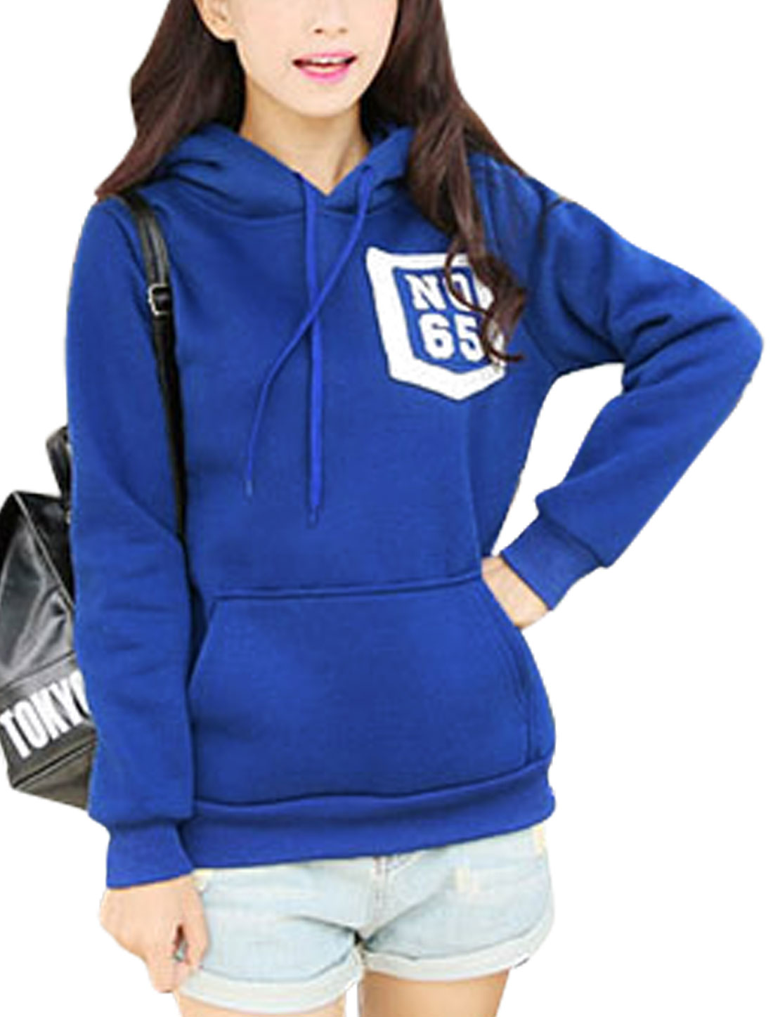 Women Hooded Long Sleeves Bust Pockets Decor Trendy Sweatshirt Blue XS