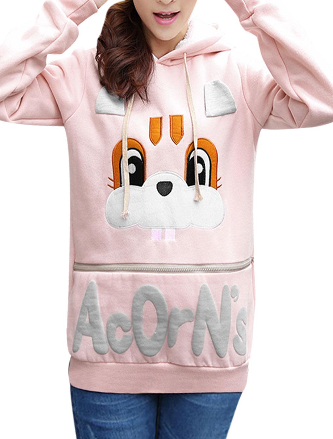 Ladies Light Pink Slipover Rabbit Pattern Ribbed Trim Drawstring Sweatshirt XS