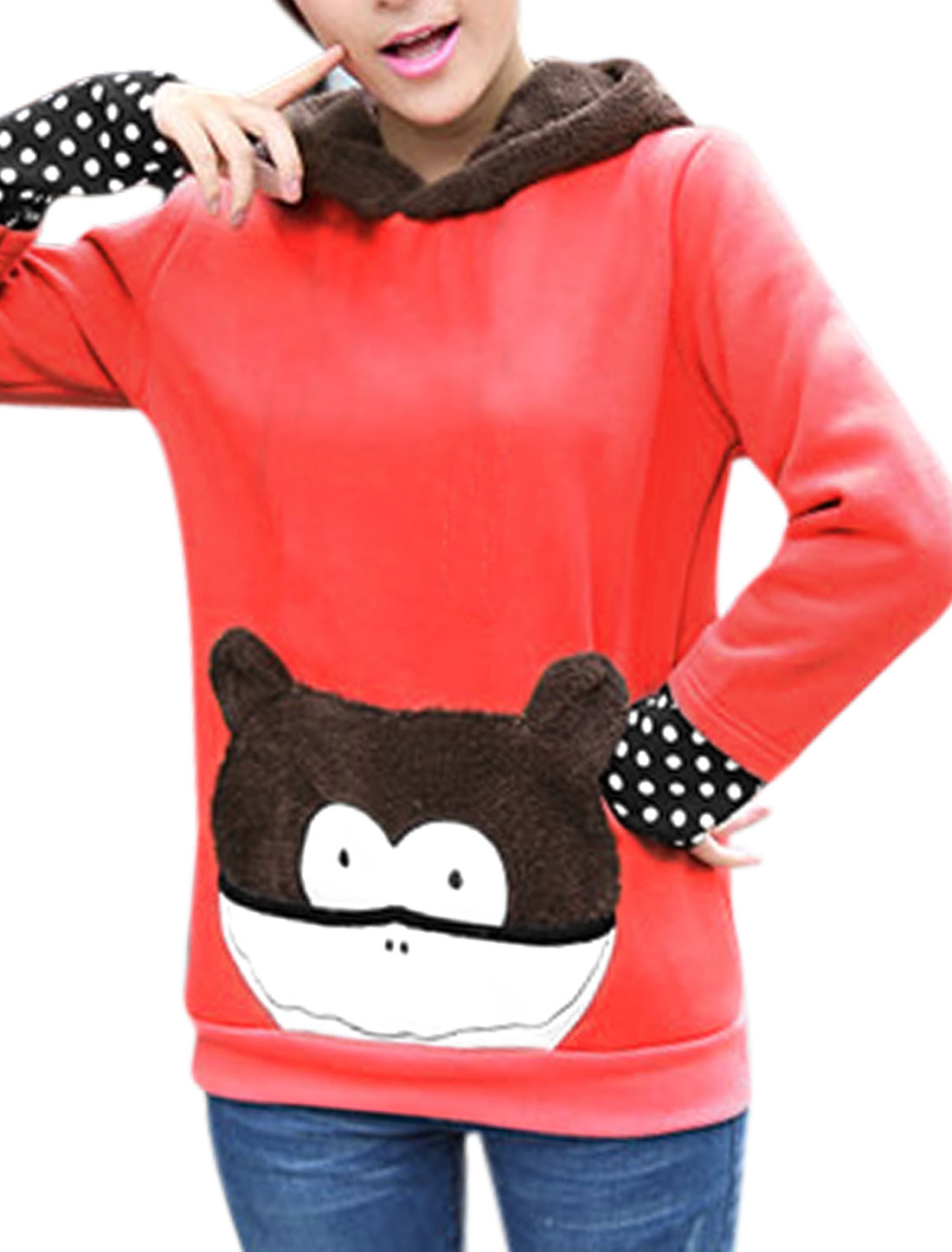 Women Hooded Long Sleeves Panel Animal Applique Sweatshirt Watermelon Red XS