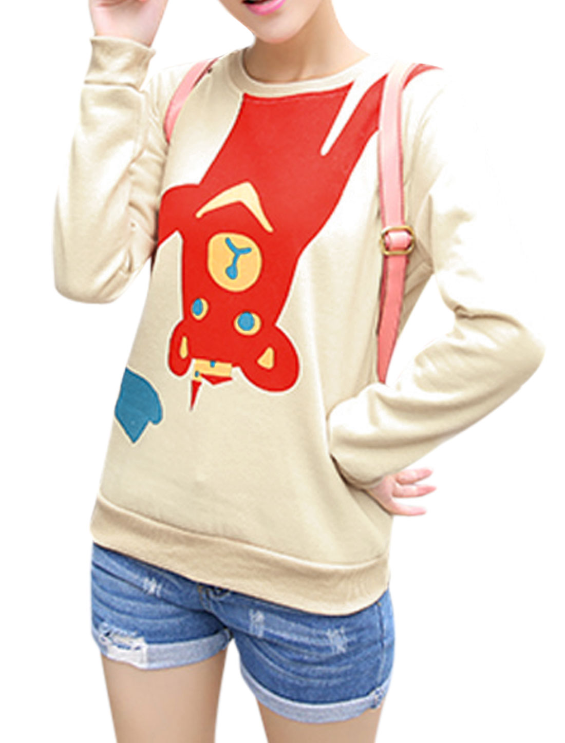 Ladies Beige Pullover Cartoon Prints Ribbed Trim Loose Leisure Sweatshirt XS