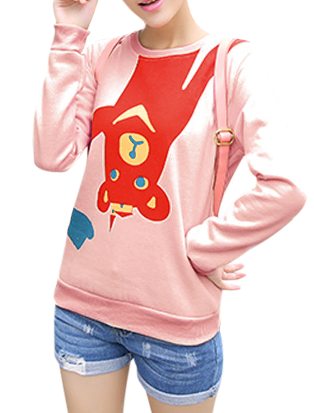 Ladies Pink Pullover Cartoon Prints Ribbed Cuffs Loose Casual Sweatshirt XS