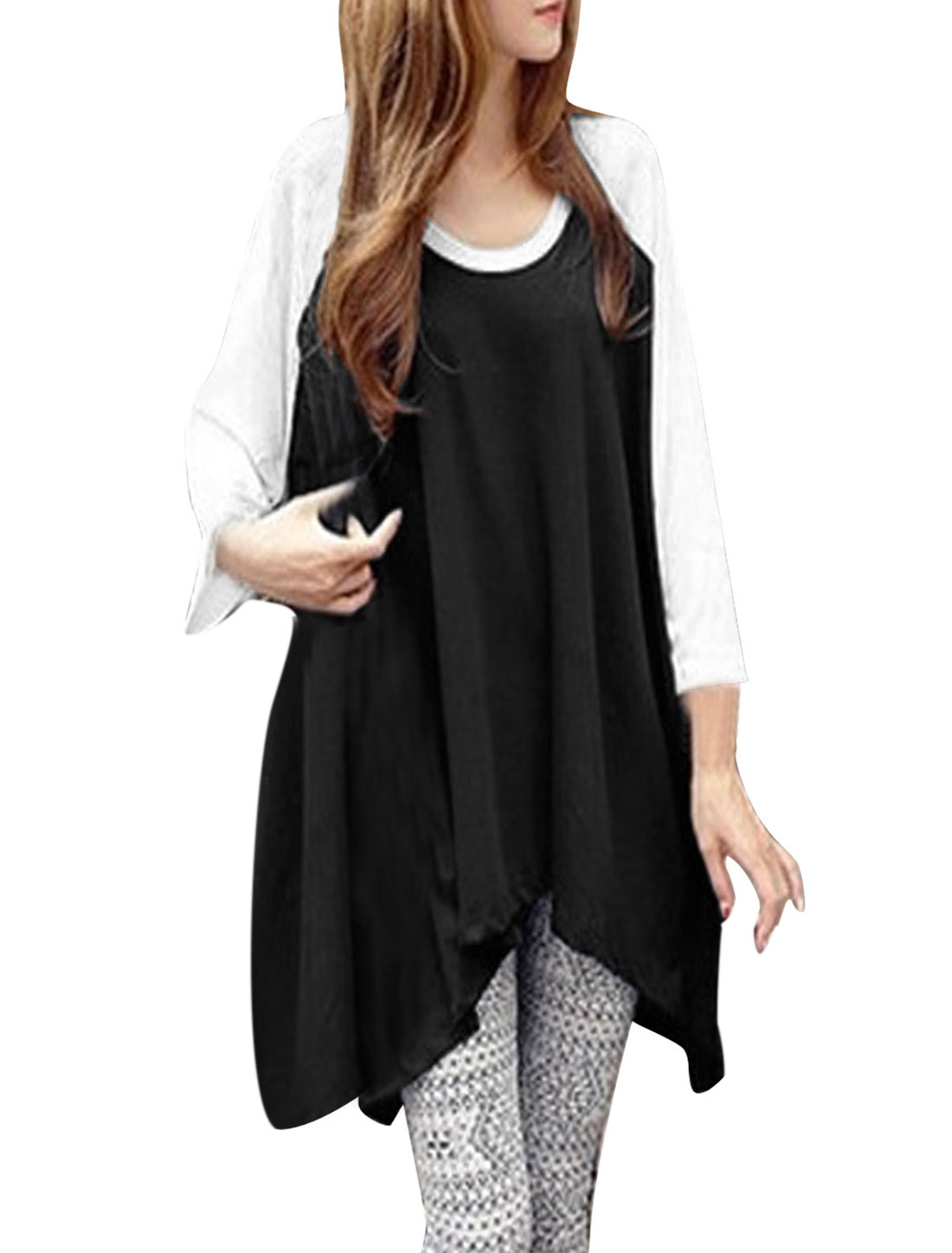 Ladies Black Pullover Color Block Asymmetric Hem Loose Tunic Top S