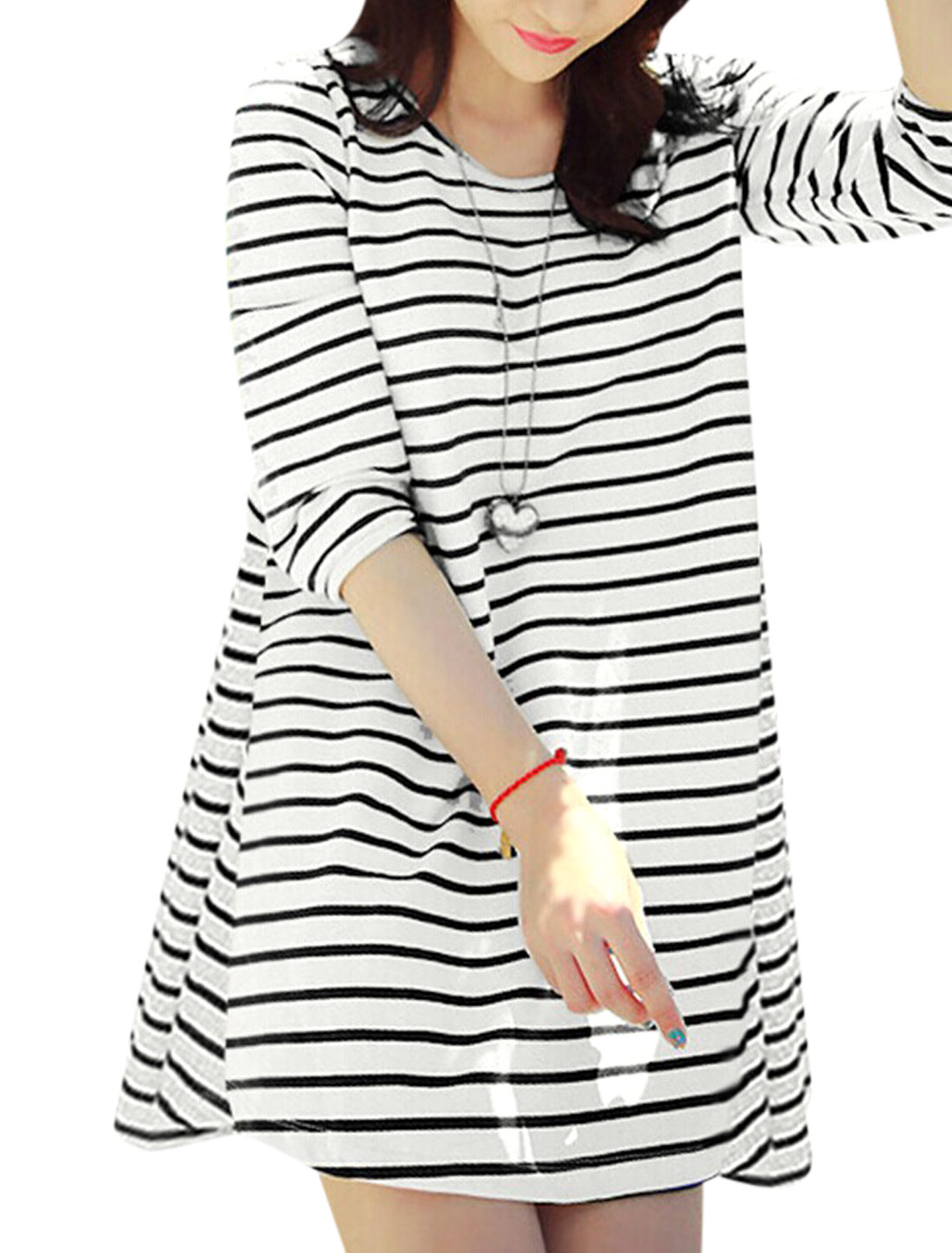 Ladies Black White Stripes Pullover Panel Bowknot Loose Tunic Top M