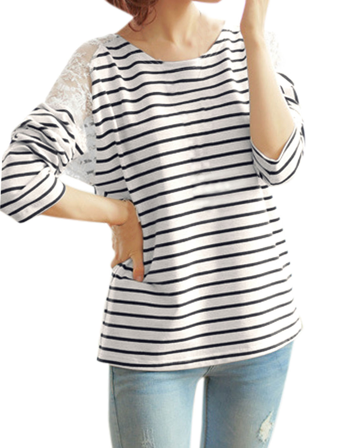 Ladies Navy Blue White Lace Splice Stripes Long Sleeves Loose Top S