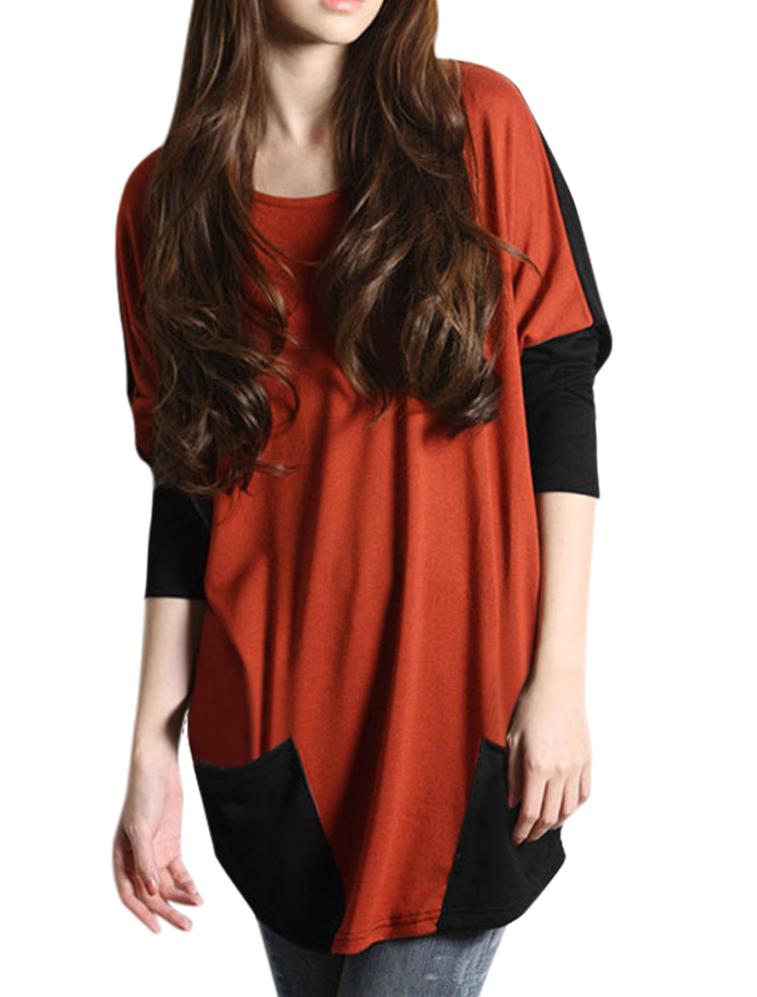 Ladies Black Rust Color Block Front Pockets Long Sleeves Tunic Top S
